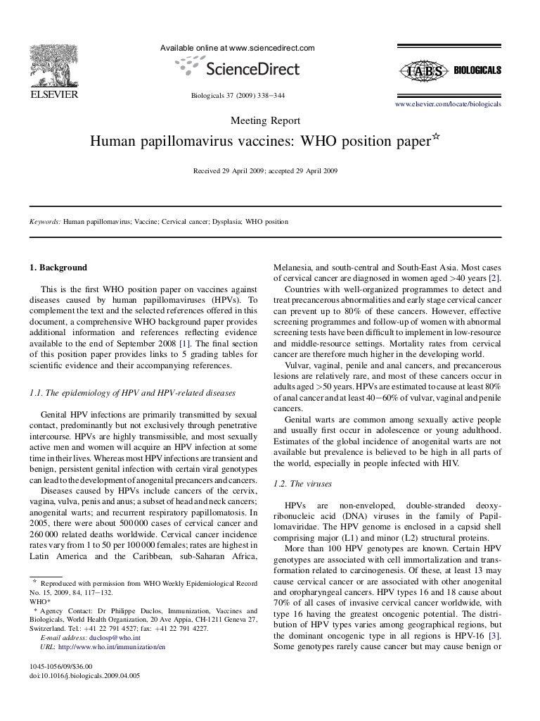 Human papillomavirus vaccine route