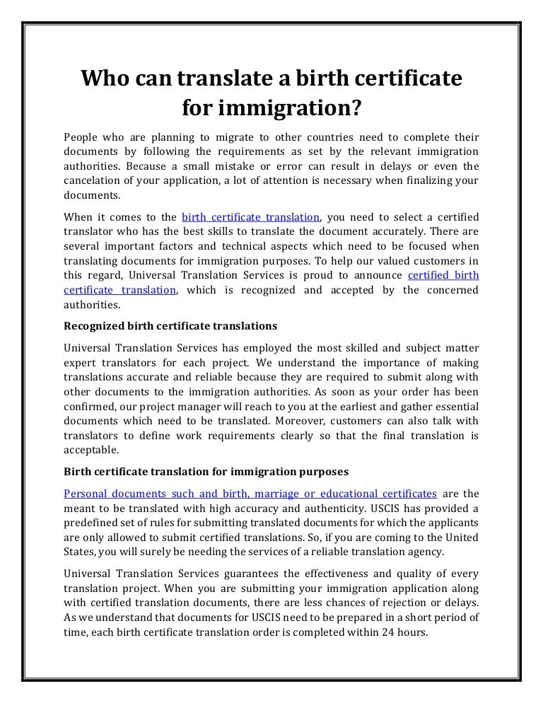 Who Can Translate A Birth Certificate For Immigration