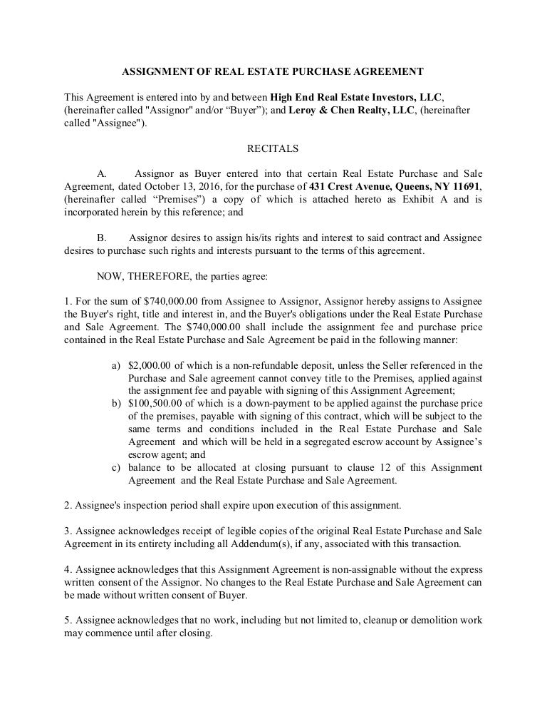 Wholesaler Real Estate Assigment Agreement