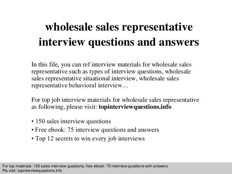 Wholesale Sales Representative Interview Questions And Answers