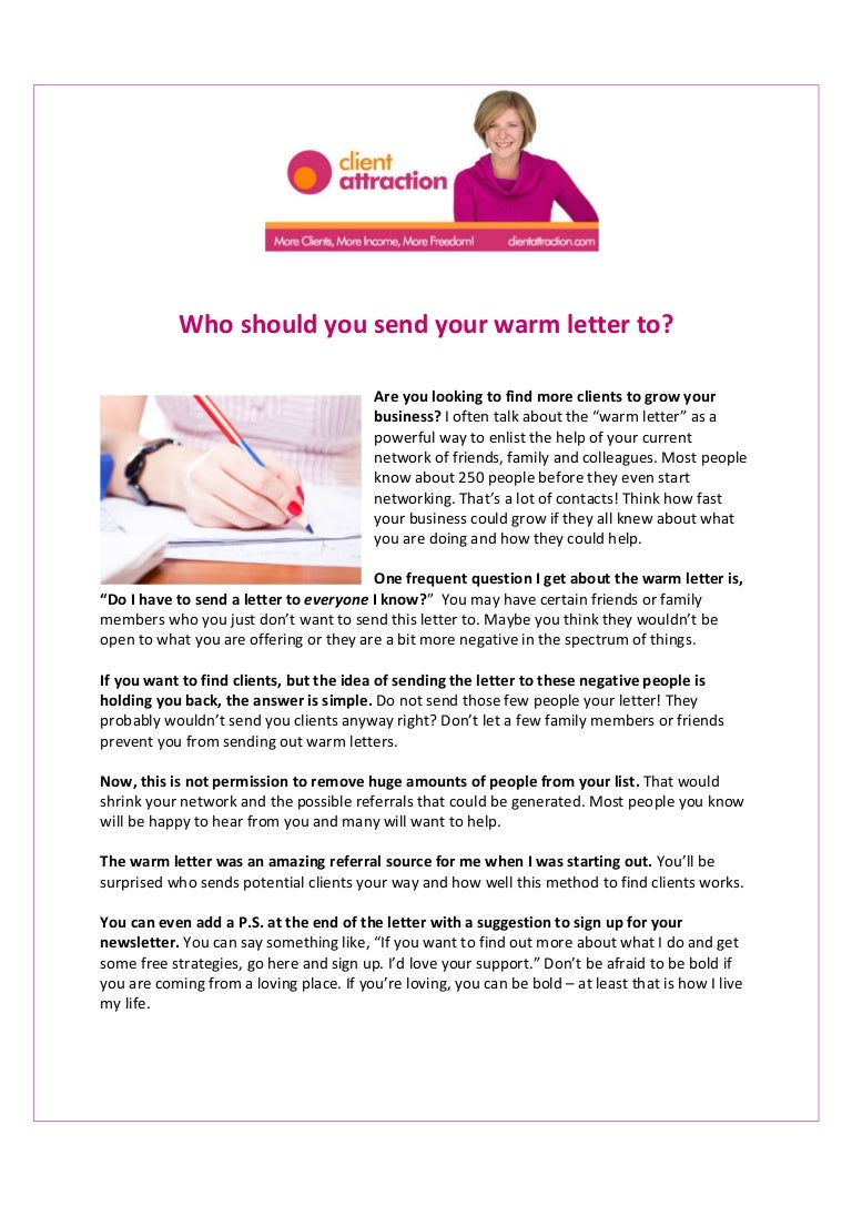 Who Should You Send Your Warm Letter To