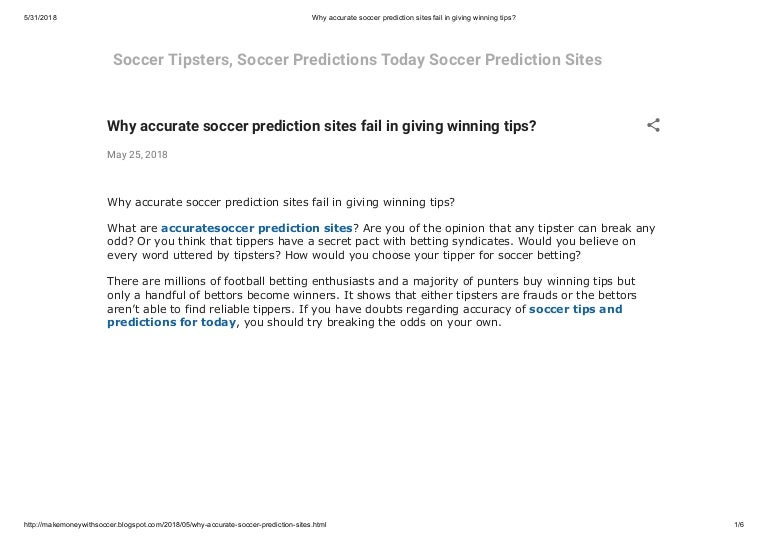 Why accurate soccer prediction sites fail in giving winning tips