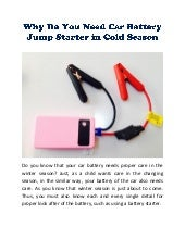 Why Do You Need Car Battery Jump Starter in Cold Season