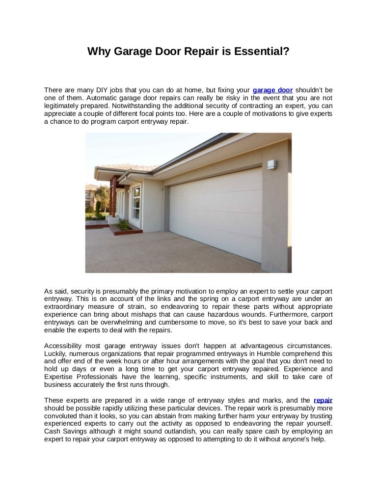 Why Garage Door Repair Is Essential