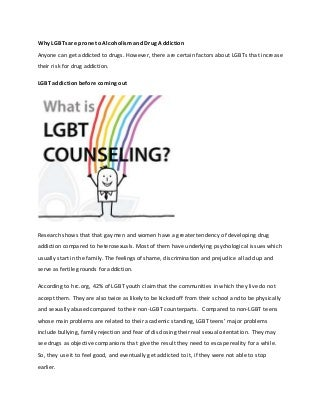 Why lgb ts are Prone to Alcoholism and Drug Addiction