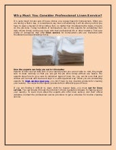 Why Must You Consider Professional Linen Service?