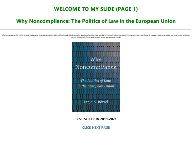 Free [DOWNLOAD $PDF$] Why Noncompliance: The Politics of Law in the European Union FOR ANY DEVICE