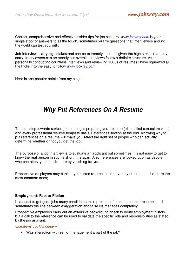 what are references on a resumes