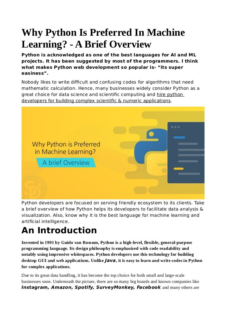 Why python is preferred in machine learning a brief overview