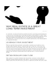 Why Real Estate is a Great Long Term Investment