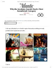 Why the Academy Awards Need a 'Best Soundtrack' Category - The Atlantic - by Adam Baer