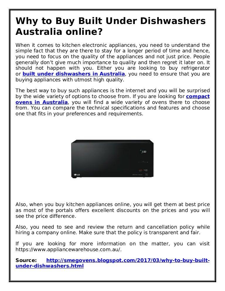 Why to Buy Built Under Dishwashers Australia online?