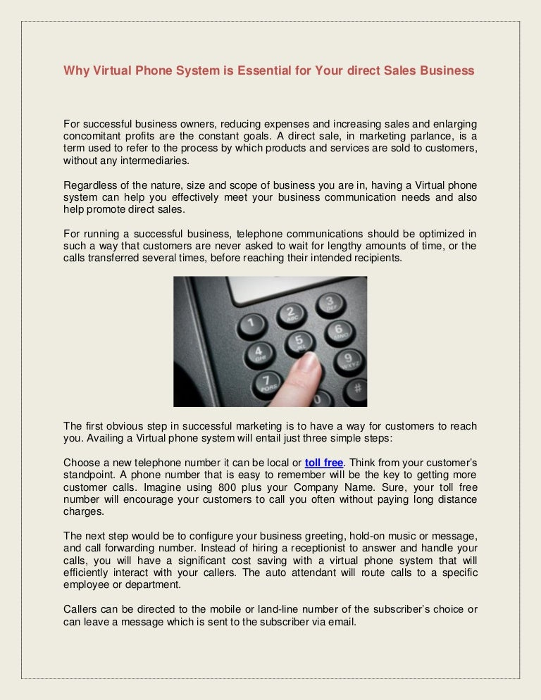 Why Virtual phone system is essential for your direct sales