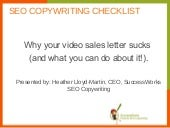 Why your video sales letter sucks