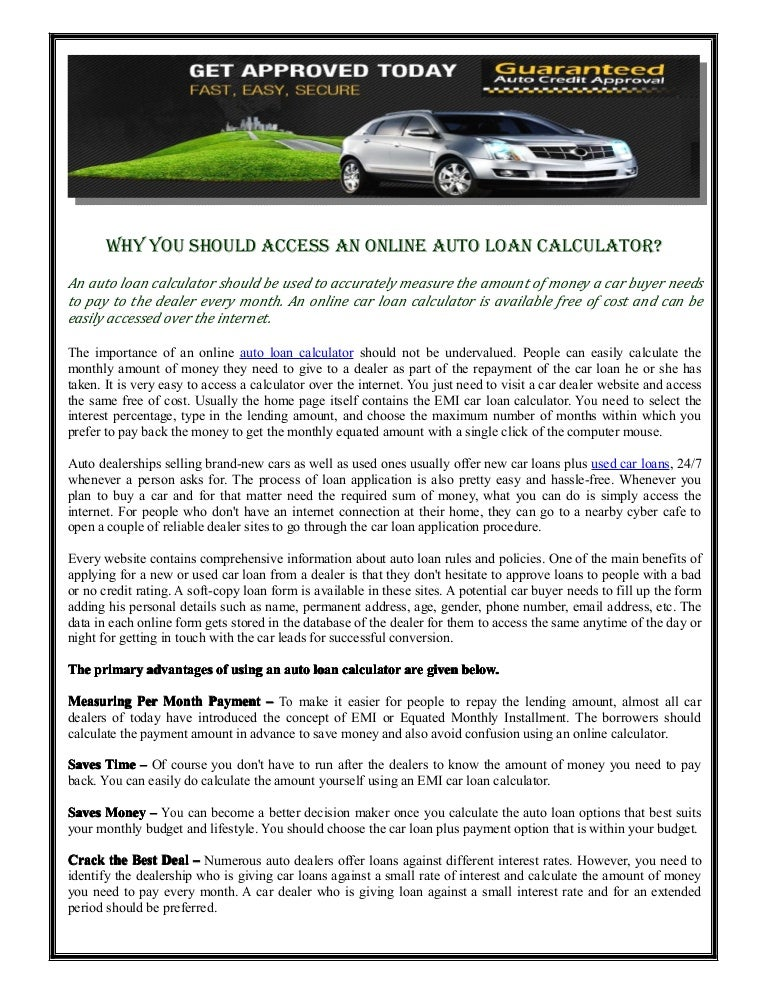 why you should access an online auto loan calculator