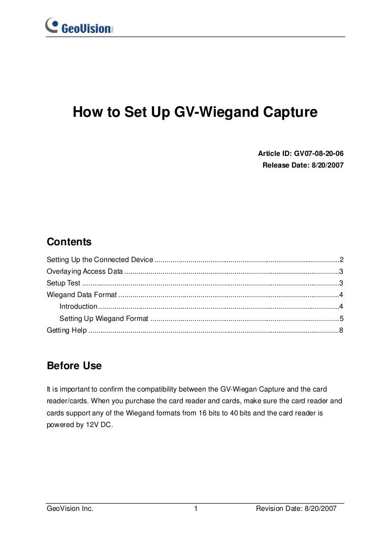 GeoVision : Access Control Solutions : How to : Wiegand settings