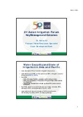 2nd Asian Irrigation Forum - Key Messages and Outcomes