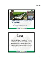 IFAD's experience in water management for improved food security and nutrition for smallholders