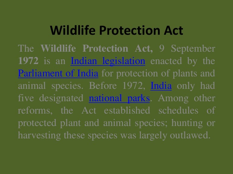 wildlife protection in india