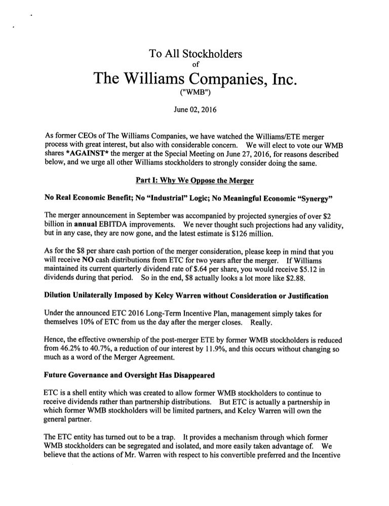 Three Former CEOs of Williams Companies Send Letter to Shareholders r…