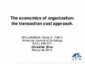 The Economics of Organization: The Transaction Cost Approach (Williamson, 1981)