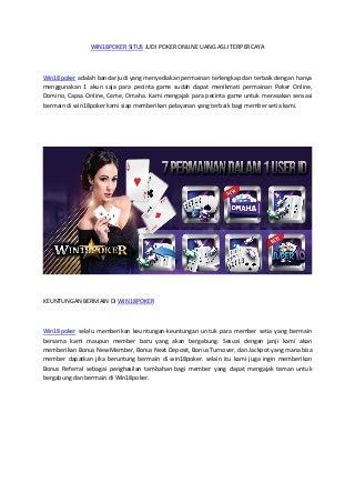 Win18 poker situs judi poker online uang asli terpercaya