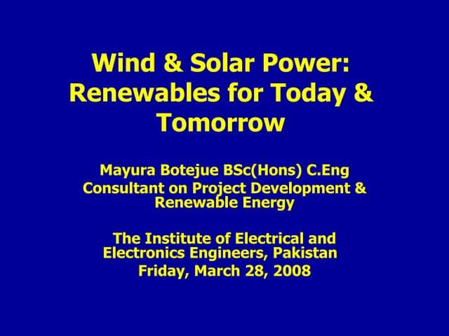 Wind & Solar Energy By Mayura Botejeu