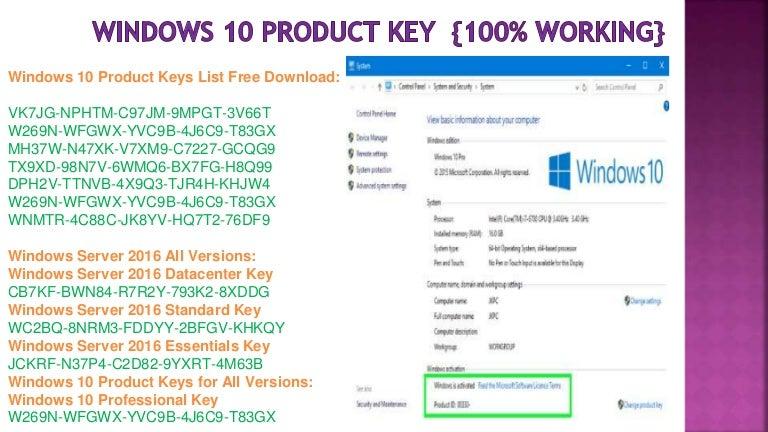 Window 10 product key 100% working