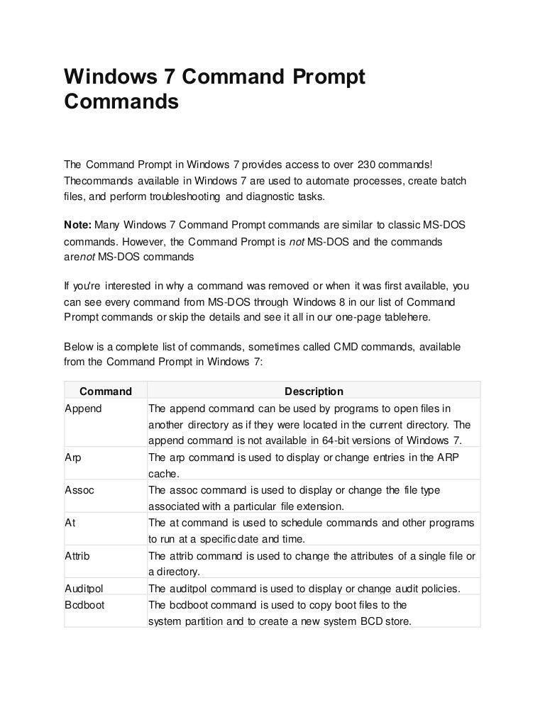 Windows 7 command prompt commands