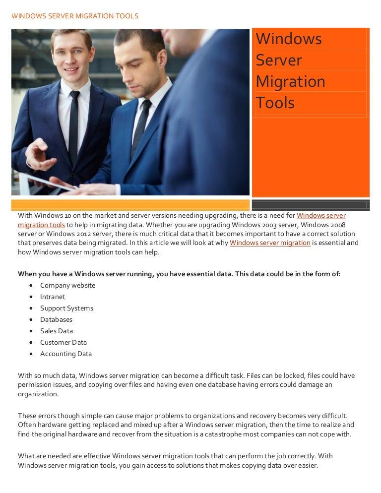 Windows server migration tools