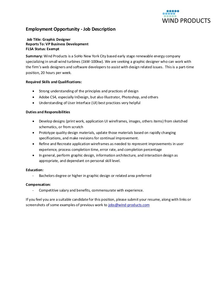 Wind Products Graphic Designer Job Description