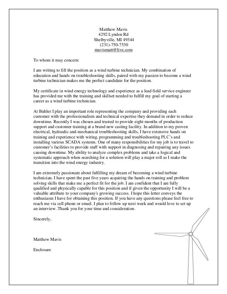 Wind Turbine Technician Cover Letter