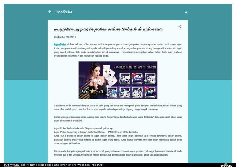 Winpoker Xyz Agen Poker Online Terbaik Di Indonesia