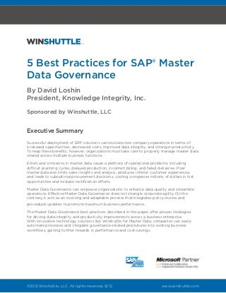 sap master data management resume