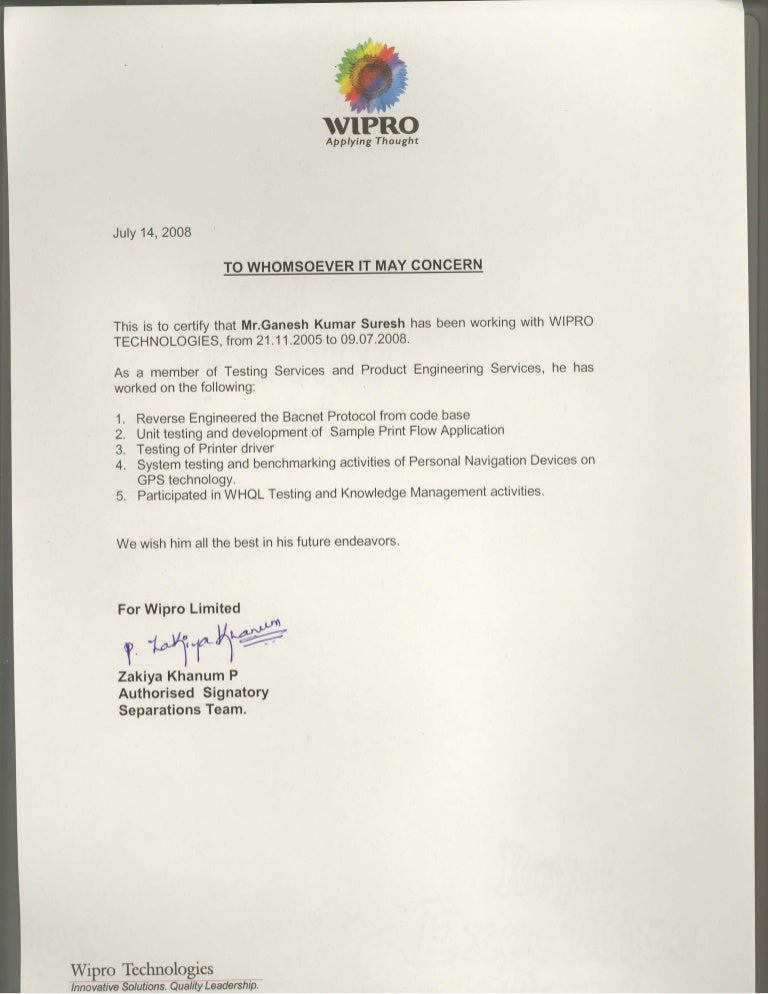Employment certificate format letter picture ideas references home employment certificate format letter wipro experience yelopaper Choice Image