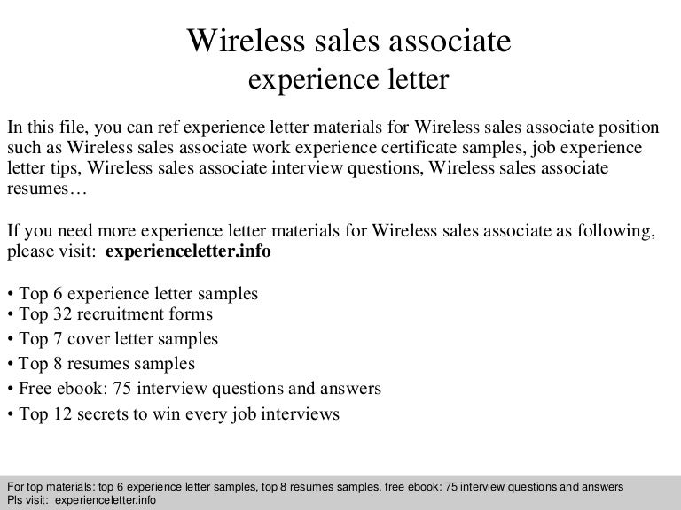 Wireless Sales Associate Experience Letter