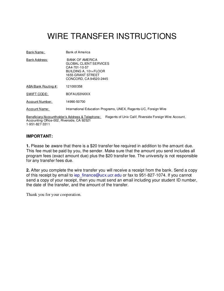 University of california, riverside Wire transfer b of a