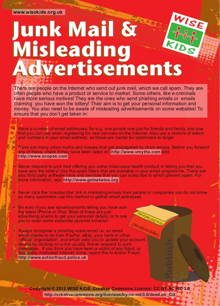 WISE KIDS Leaflet: Junk Mail and Misleading Advertisements