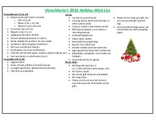 Vista Maria Wish List