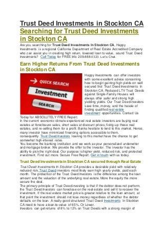 HII Trust Deed Investing Stockton CA - 209-888-0323