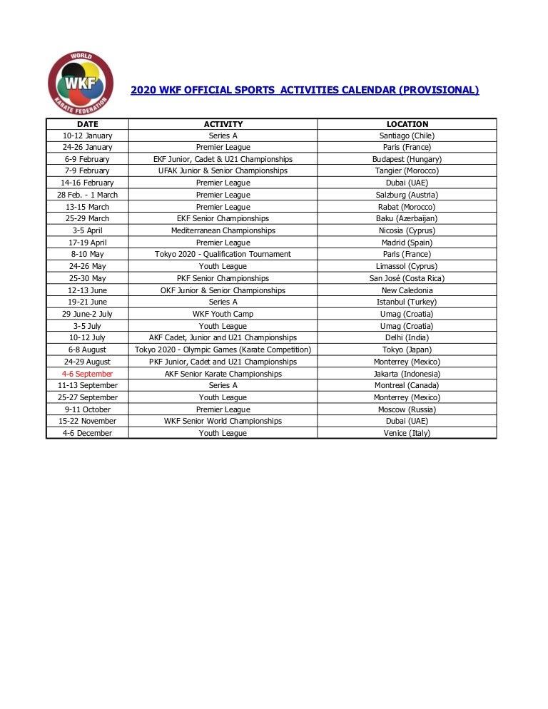 Calendario Premier League 2020 2020.Sports Calendar 2020 Calendar 2020
