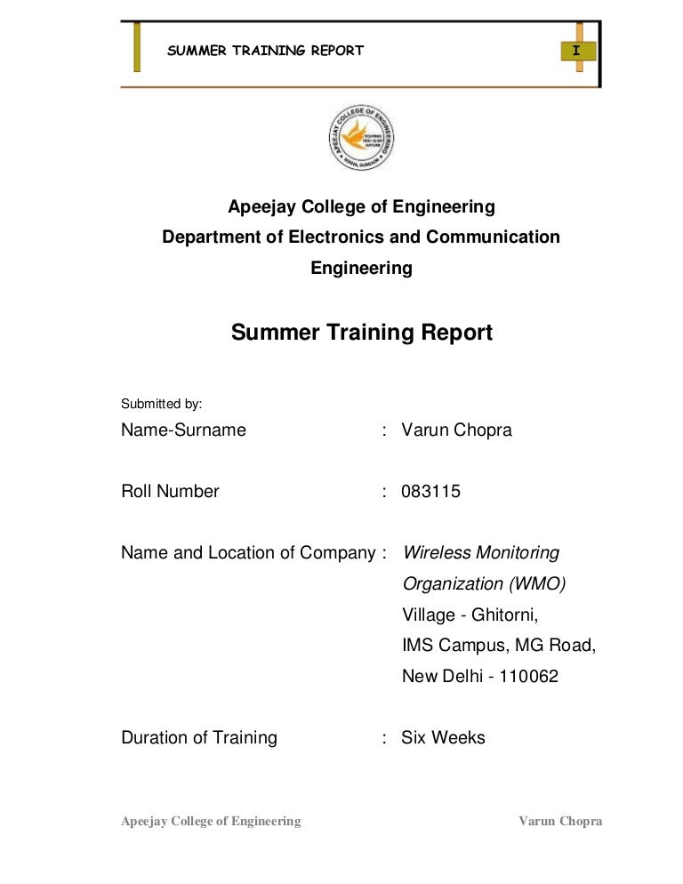 Wmo Summer Training Report