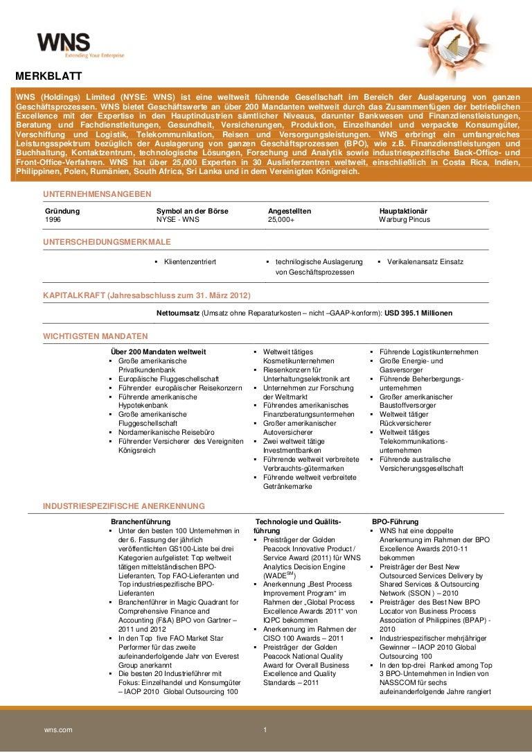 WNS Corporate German Factsheet