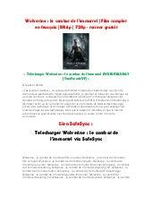 TÉLÉCHARGER WOLVERINE LE COMBAT DE LIMMORTEL TRUEFRENCH