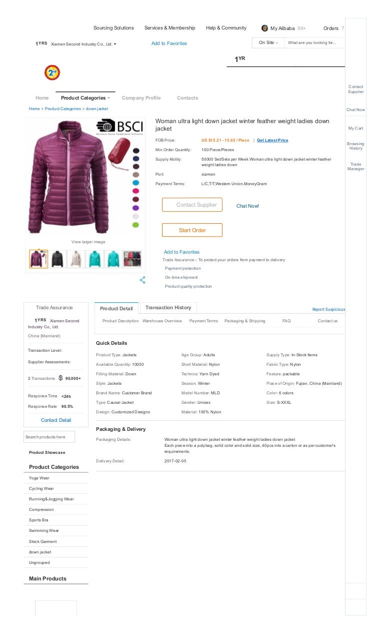 e65a53963 Woman ultra light down jacket winter feather weight ladies down jacket