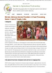 Women advisory service providers in food processing sector  case of punjab, india   gender in agriculture partnership