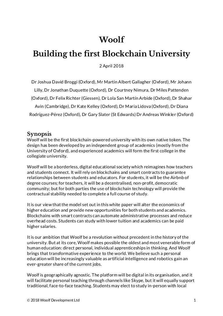 Woolf Building the first Blockchain University whitepaper