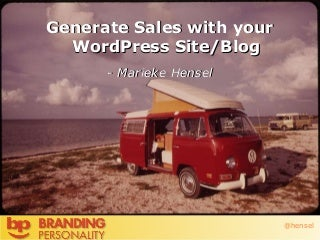 Get More Sales with your WordPress Blog #wcoc