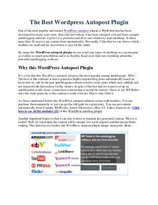 Wordpress Autopost plugin to Create Autoblogs
