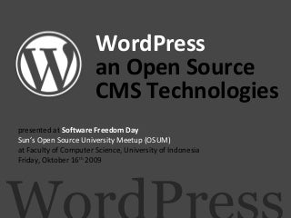 WordPress, an Open Source CMS Technologies